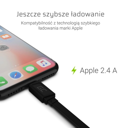 [GCL.KABGC02] GCmatte Lightning ravni kabl 25 cm sa brzim punjenjem Apple 2.4A