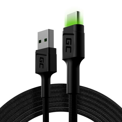 [GCL.KABGC13] Kabl Green Cell Rai USB-A - USB-C Zelena LED 200 cm sa podrškom za brzo punjenje Ultra Charge KC3.0