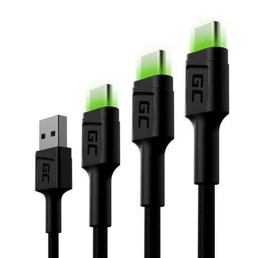 [GCL.KABGCSET01] Set 3k Green Cell GC Rai USB-C kabl 30cm, 120cm, 200cm sa zelenim LED pozadinskim osvetljenjem, UC za brzo punjenje, KC 3.0